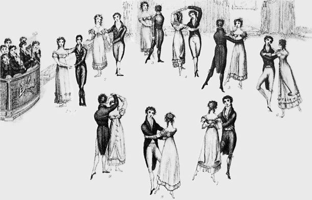 Detail from frontispiece to Thomas Wilson's Correct Method of German and French Waltzing (1816), showing nine positions of the Waltz, clockwise from the left (the musicians are at far left). At that time, the Waltz was a relatively new dance in England, and the fact that it was a couples dance (as opposed to the traditional group dances), and that the gentleman actually clasped his arm around the lady's waist, gave it a dubious moral status in the eyes of some. (from History of Dance, by Mary Clarke and Clement Crisp)