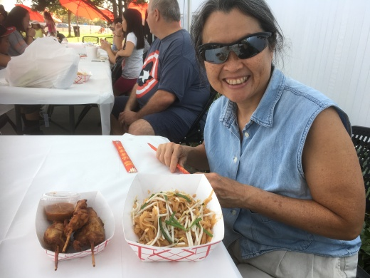 Chicken satay and pad thai at the Thai festival!