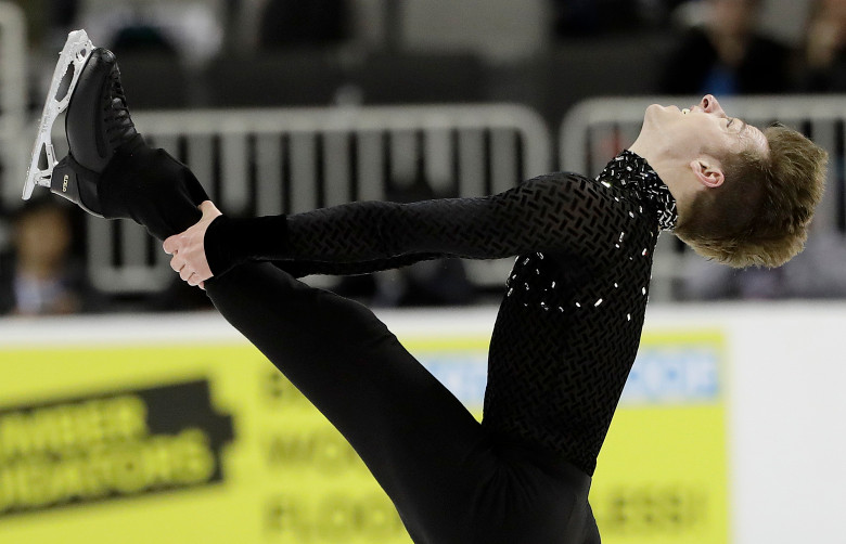 Alexander Johnson performs during the men's short program at the U.S. Figure Skating Championships in San Jose, Calif., Thursday, Jan. 4, 2018. (AP Photo/Marcio Jose Sanchez)