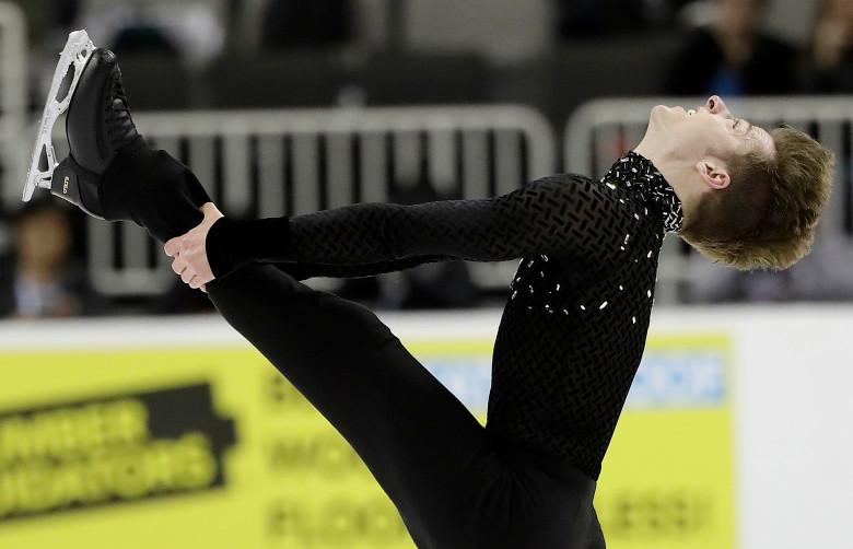 Alexander Johnson performs during the men's short program at the U.S. Figure Skating Championships in San Jose, Calif., Thursday, Jan. 4, 2018. (AP Photo/Marcio Jose Sanchez)